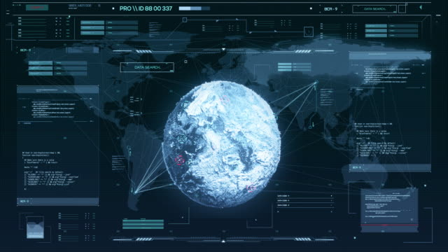digital control panel - hud of the future. the study of an unknown space object, data collection, analysis, guidance satellites on the object. - antica civiltà video stock e b–roll