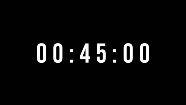 digital countdown clock timer in one minute or 60 seconds to zero second. white text number on isolated black background. element for overlay concept. 4k footage motion video - conto alla rovescia video stock e b–roll