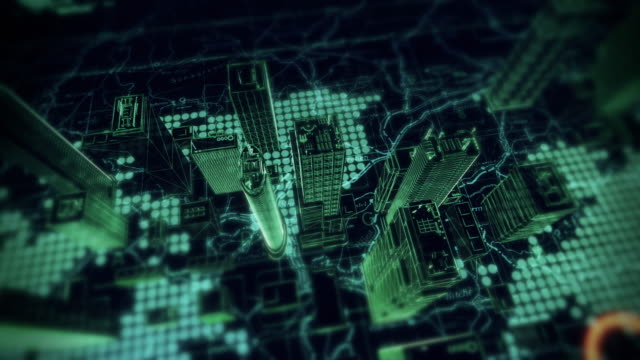 Digital Cybernetic City Flyover - Stock video City, Holographic Buildings, Cityscape, Computer Hologram, Skyscrapers, Cyber Security wire frame model stock videos & royalty-free footage