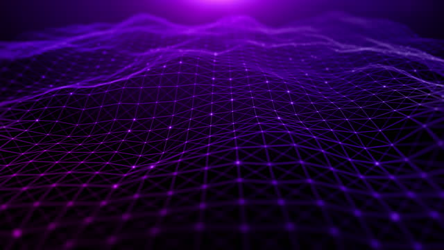 Digital cyberspace futuristic, Purple color particles wave flowing with lines and dots connection, Technology network abstract background.