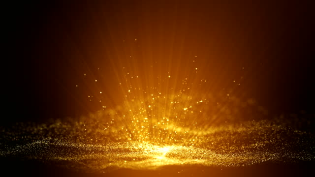 Digital dark brown abstract background with sparkling golden yellow light particles and areas with deep depths Particles form into lines, surfaces and grids - vídeo