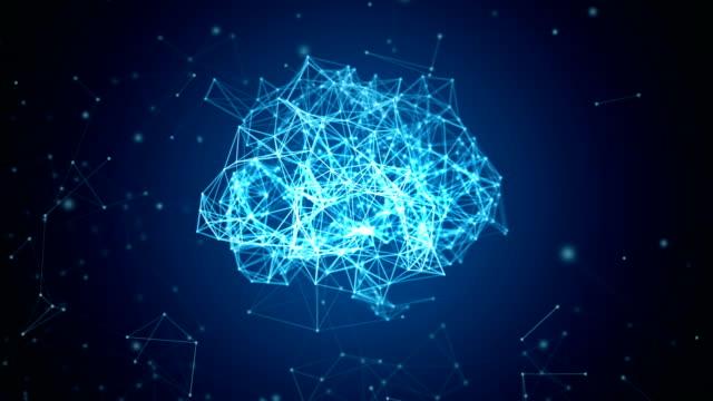 digital data och nätverk anslutning av mänskliga hjärnan isolerad på svart bakgrund i form av artificiell intelligens för teknik och medicinska begrepp. motion graphic. 3d abstrakt illustration - människohuvud bildbanksvideor och videomaterial från bakom kulisserna
