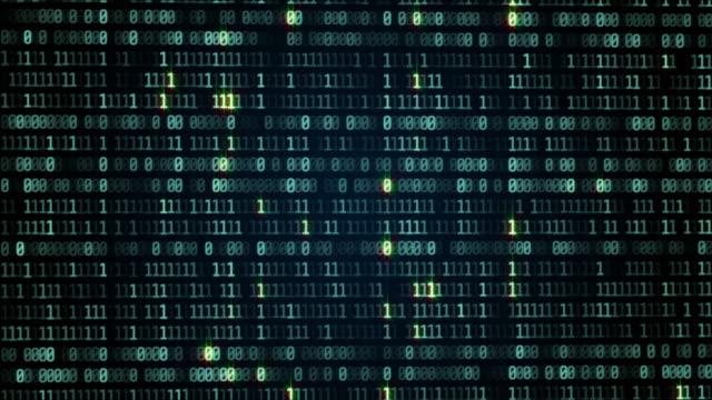 vídeos de stock e filmes b-roll de digital data binary code number bit transfer technology. - bit código binário