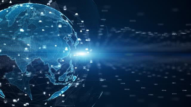 vídeos y material grabado en eventos de stock de conexiones de red de datos digitales y comunicación global. 5g análisis de datos de conexión de alta velocidad. red de código binario de datos tecnológicos que transmite el concepto de fondo de conectividad. - equipo informático