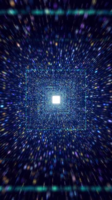 sfondo blu tunnel del flusso di dati digitale - criptovaluta video stock e b–roll