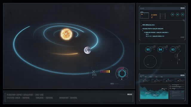Digital Display Sci-Fi HUD - Holographic Solar System with Asteroid Impact video