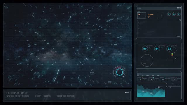 Digital Display Sci-Fi HUD - Space Travel Star Trails video