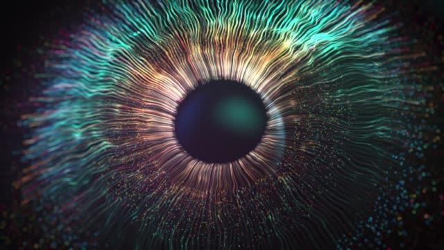 connessioni digitali dell'iride oculare, sfondo dell'esplosione dell'iride astratta - nebulosa video stock e b–roll