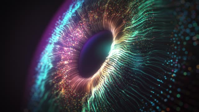 digital eye iris connections, abstract iris explosion background - sfondo multicolore video stock e b–roll