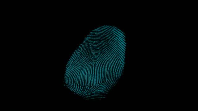 4k digital fingerprint scanning with digital line - замок средство безопасности стоковые видео и кадры b-roll