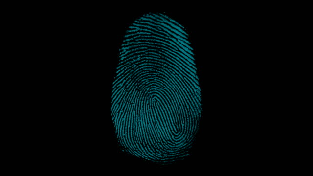 4K digital fingerprint scanning with match point finger print, blue,scanning,id,digital,top camera crime scene stock videos & royalty-free footage