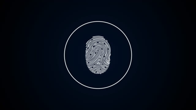 Digital fingerprint sign. Animation. Touch fingerprint on dark background. Pulsating circles indicate fingerprint to unlock or grant access
