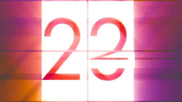 vídeos de stock e filmes b-roll de digital generated video of flip countdown timer - 20 24 anos