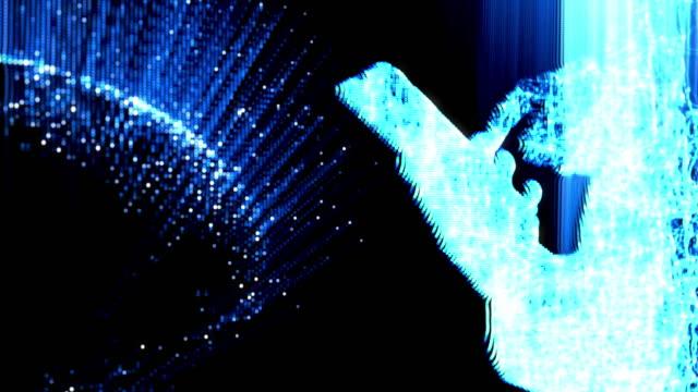 digitalt globalt nätverk med hjälp av en smartphone och se 3d-anslutningen genom noder och pixlar - nod bildbanksvideor och videomaterial från bakom kulisserna