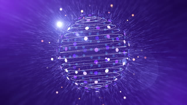 Dijital dünya animasyon parçacıkları ile video