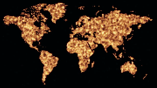 Digital golden world map in flickering dots. video