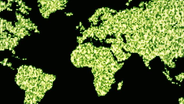 Digital green world map in dots. video