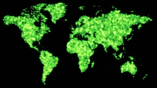 Digital green world map in flickering dots. video