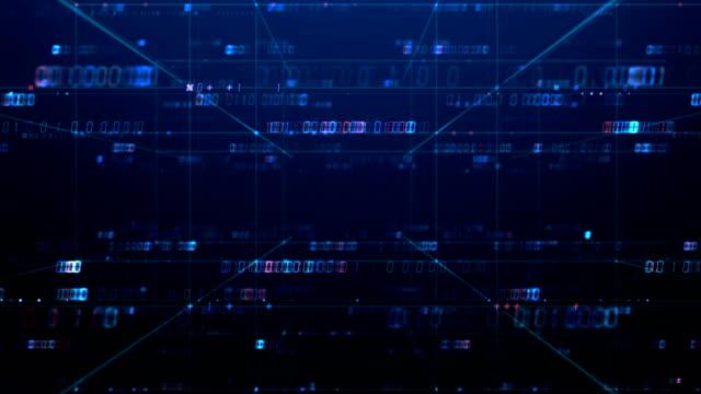 digital grid and number in virtual space seamless loop footage. – film