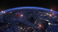 istock Digital Grid Over the Earth Sunrise. Beautiful View from Space Satellite. Futuristic Abstract Network Growing and Covering Planet. Modern Business and Technology Concept. 1210381293