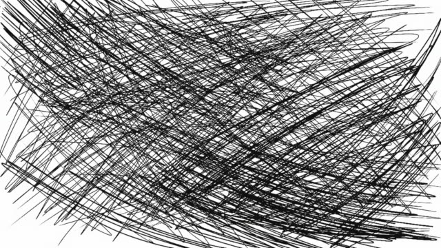 Digital hand drawing animation of scribble. Brush stroke black and white transition. 4k movie