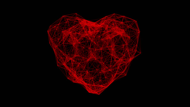 Digital heart beating animation. Futuristic heartbeat seamless loop. 4k technology concept with alpha channel.