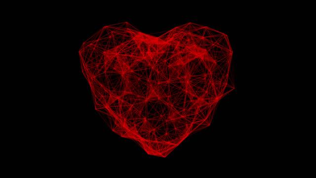 vidéos et rushes de coeur numérique battant l'animation. boucle sans soudure de battement de coeur futuriste. concept de technologie 4k avec canal alpha. - rythme cardiaque