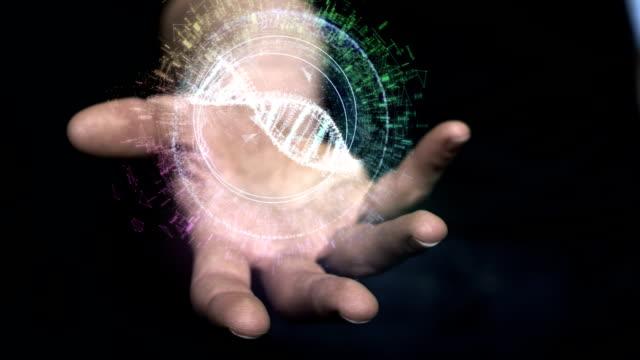 手のデジタル ヘリックス。dna の設計 - ホログラム点の映像素材/bロール
