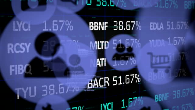 Digital icons moving against stock market data processing