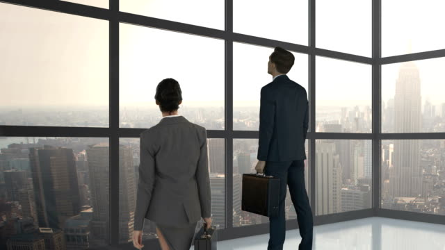 Digital image of business people are looking away Digital image of business people are looking away in a building arms akimbo stock videos & royalty-free footage