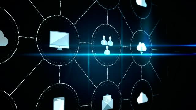 vidéos et rushes de digital interface d'icônes d'application - informatique en nuage