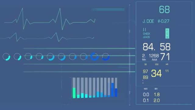 vídeos de stock e filmes b-roll de digital interface with heart rate and bars - coração fraco