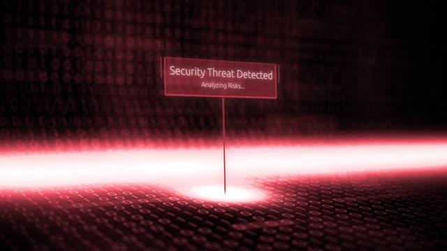 Software de panorama digital define tipografía con código binario futurista - seguridad amenaza detectada - vídeo