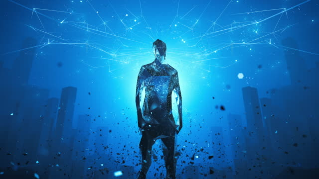 Digital Leadership, Artificial Intelligence - Blue, Loopable - Big Data, Network Security