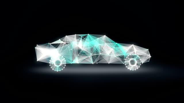 Digital lines create Electronic car shape, digital concept. intelligence future car. video