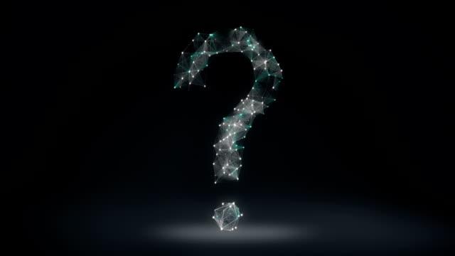 digital lines create question mark shape, digital concept. - question mark video stock e b–roll