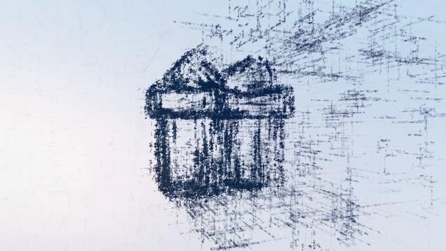 デジタルのロゴ印ギフト、光ニュース アニメーション。イントロの空間で抽象的なギフト - アイコン プレゼント点の映像素材/bロール