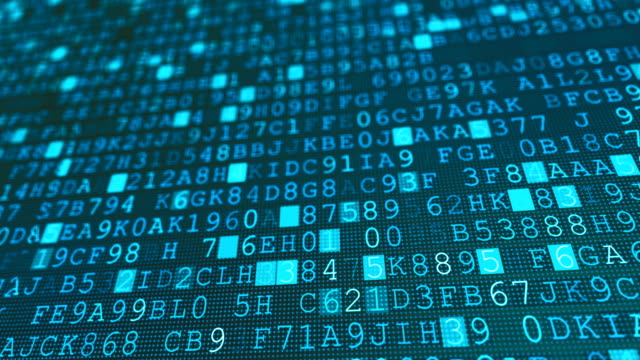 digital machine code binary symbols, computer internal numbers background - kodować filmów i materiałów b-roll
