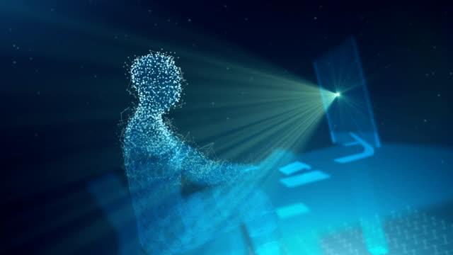 vidéos et rushes de dactylographier des formes numériques d'homme à un ordinateur - corps humain