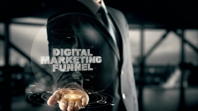 Digital Marketing Funnel with hologram businessman concept video