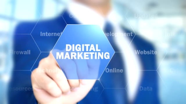 digital marketing, man working on holographic interface, visual screen - digital marketing stock videos & royalty-free footage