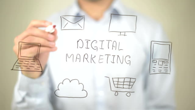 digital marketing,  man writing on transparent screen - digital marketing stock videos & royalty-free footage