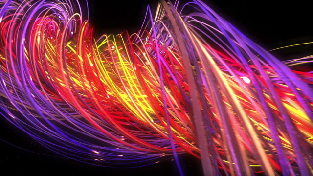 Digital neon multicolor strings lines twisting and flowing. Geometric abstract background