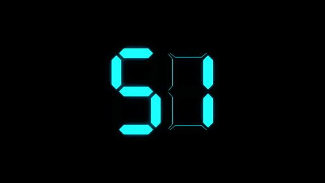 digital number countdown on black background - conto alla rovescia video stock e b–roll