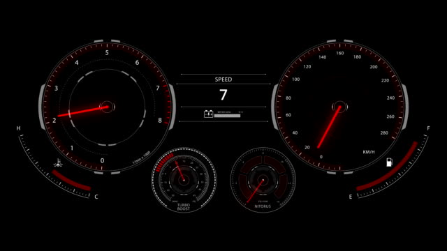 Digital optitron speedometer of car driving with acceleration, dashboard video