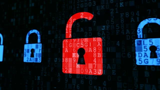 Digital padlocks secure except one red lock, hacker attack virus detected Digital padlocks secure except one red lock, hacker attack virus detected padlock stock videos & royalty-free footage