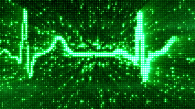vídeos de stock e filmes b-roll de pixels digital no electrocardiograma pulso ecg verde loopable fundo - imagem pulsante