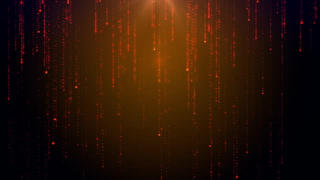 Digital rain. Abstract technologic background with moving down particles. HD resolution, horizontal video