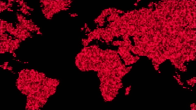 Digital red world map in dots. video