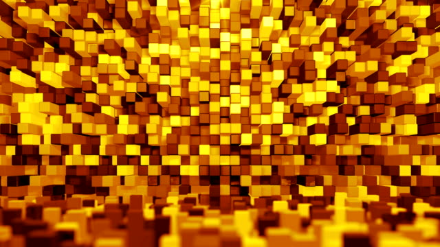 Digital Room (Loopable) Room of gold cubes background. Seamless loop 3D animation housing logo stock videos & royalty-free footage